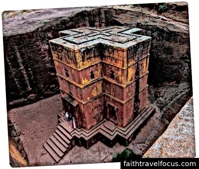 Nhà thờ Rock-Hewn ở Lalibela, một thị trấn ở phía bắc Ethiopia